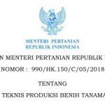 KEPUTUSAN MENTERI PERTANIAN REPUBLIK INDONESIA NOMOR : 990/HK.150/C/05/2018