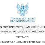 KEPUTUSAN MENTERI PERTANIAN REPUBLIK INDONESIA NOMOR : 991/HK.150/C/05/2018
